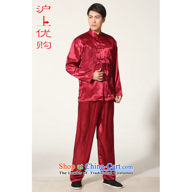 Shanghai, optimization options for older men's Tang Dynasty Chinese silk embroidered improved collar Chinese dragon tai chi services for larger men's kung fu kit燤0013 wine red燤 recommendations 100-120 catty