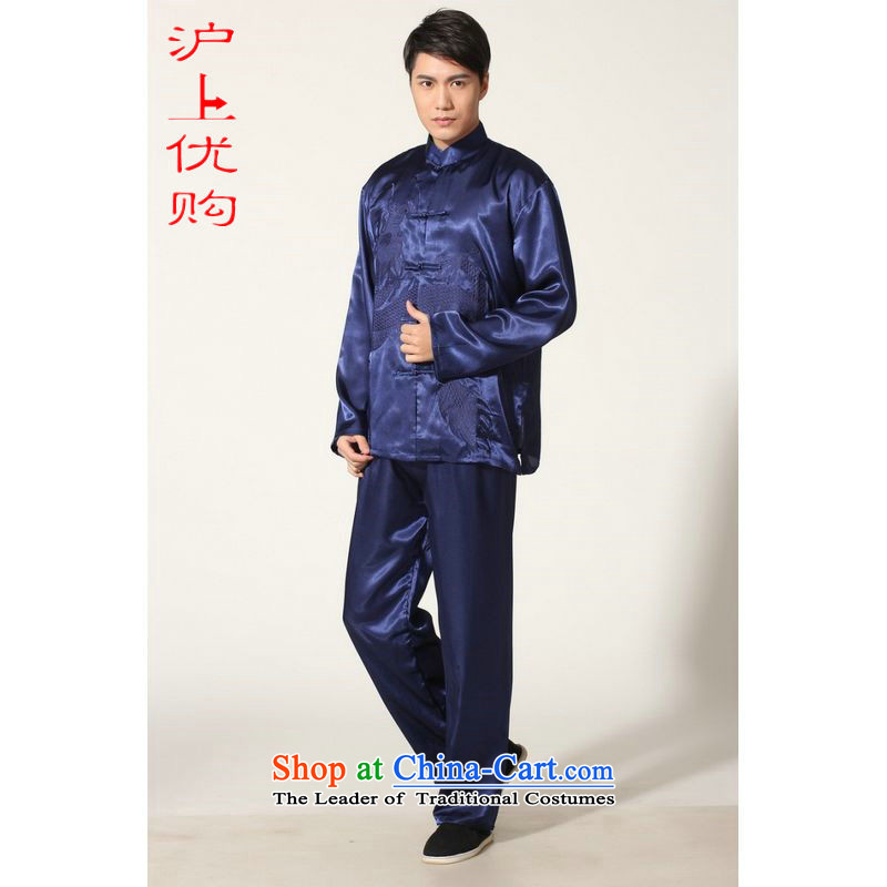 Shanghai, optimization options in Tang Dynasty older Men's Mock-Neck summer silk embroidery Tang Dynasty Chinese Dragon Men long-sleeved kit for larger燤0011 men on cyan燤 recommendations 100-120 catty
