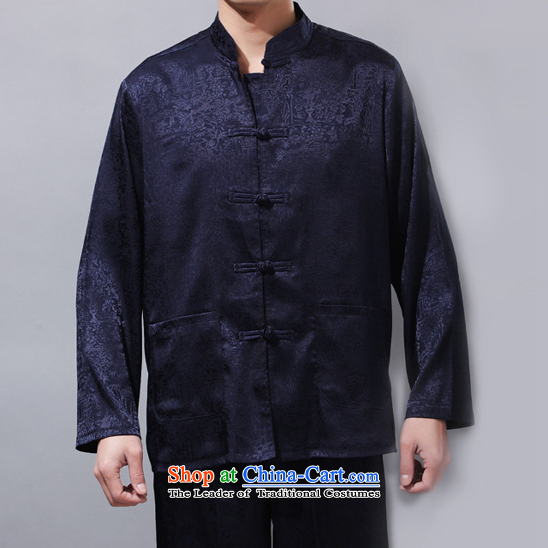 China wind men Tang Dynasty Package, forming the basis of older shirt long-sleeved lounge light jacket Chinese men serving blue L/175 Tai Chi