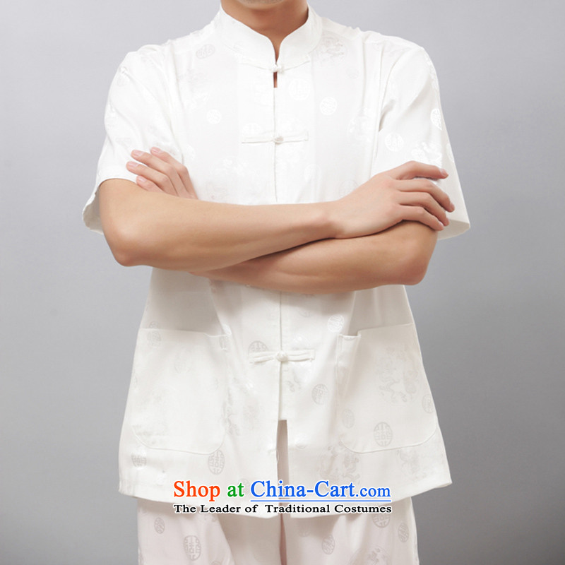Bosnia and thre line summer men silk short-sleeved Tang Dynasty Package for older men's Mock-neck short-sleeve packaged ethnic men detained in ROM-lung manually short-sleeved white?M/170 Kit