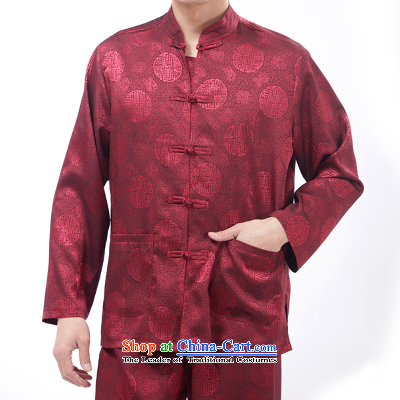 Bosnia and long-sleeved thin line thre Tang dynasty China wind Men's Shirt Taegeuk service men and Kung Fu in the spring and summer of elderly men Tang Dynasty Package�M/170 red