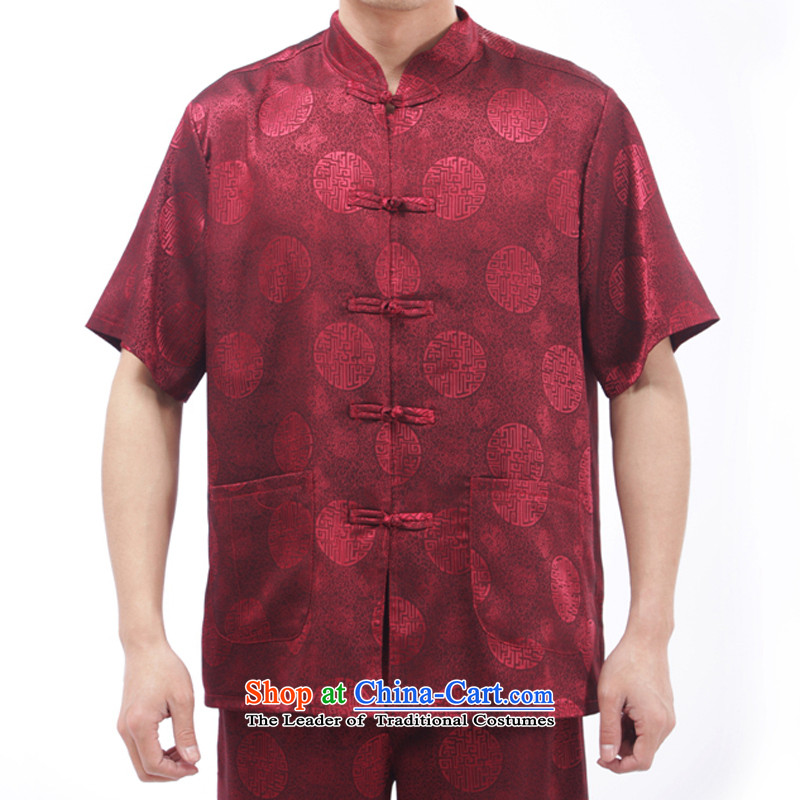 Bosnia and genuine line thre Chinese men casual summer short-sleeve kit Tang Dynasty Chinese Men's Mock-Neck Taegeuk services M_170 red