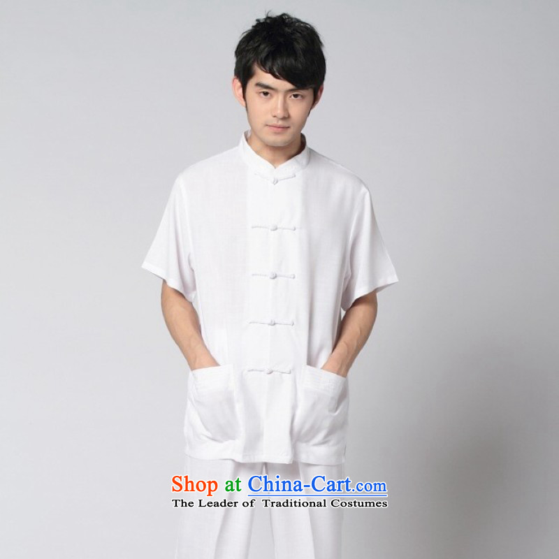 Yet Floor Floor men summer new Tang Dynasty Chinese men improved Chinese tunic cotton linen collar short-sleeved T-shirt tai chi kit shirt kung fu men聽- 7 White聽M