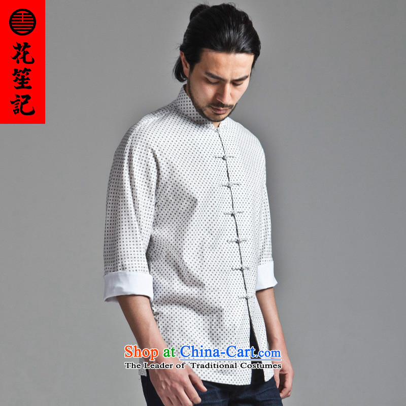 His Excellency flower note China wind star-empty retreat yi collar disc detained men Chaoren Sau San Tong in Chinese boxed short-sleeved white (L)