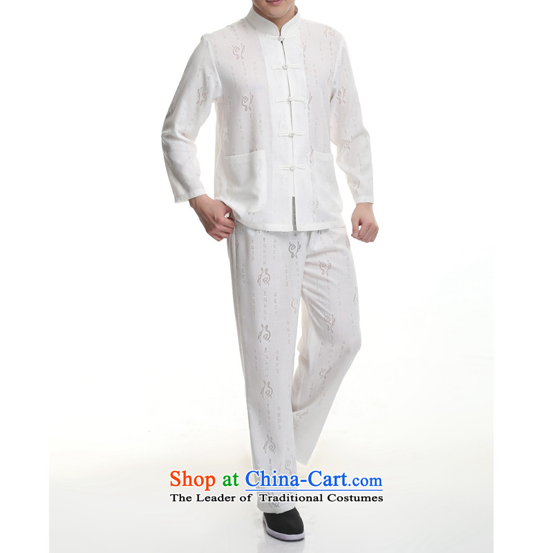 The elderly in the Tang dynasty short-sleeve packaged men summer of Chinese national costumes grandpa load tapes?185/2XL White