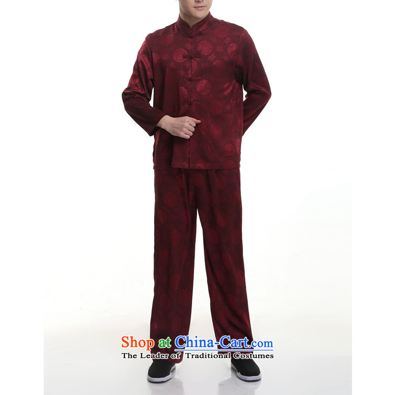 Kanaguri mouse new summer men Tang Kit blouses of older persons in the Tang dynasty men's short-sleeve kit for larger聽195_4XL wine red