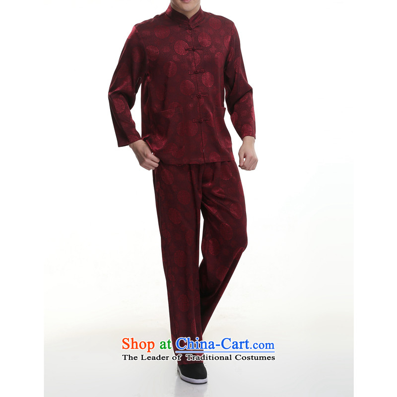 Kanaguri mouse new summer men Tang Kit blouses of older persons in the Tang dynasty men's short-sleeve kit for larger wine red聽195/4XL, kanaguri mouse (JINLISHU) , , , shopping on the Internet