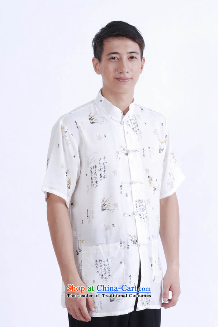 Ko Yo Overgrown Tomb Gigi Lai聽Man 2015 Summer cotton linen collar detained in ROM older men Tang Dynasty Short-Sleeve Men National Dress Casual Tang dynasty white聽L picture, prices, brand platters! The elections are supplied in the national character of distribution, so action, buy now enjoy more preferential! As soon as possible.