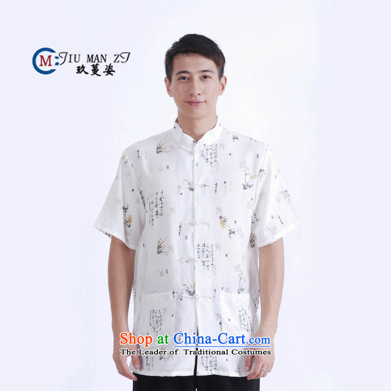 Ko Yo Overgrown Tomb Gigi Lai?Man 2015 Summer cotton linen collar detained in ROM older men Tang Dynasty Short-Sleeve Men National Dress Casual Tang dynasty white?L