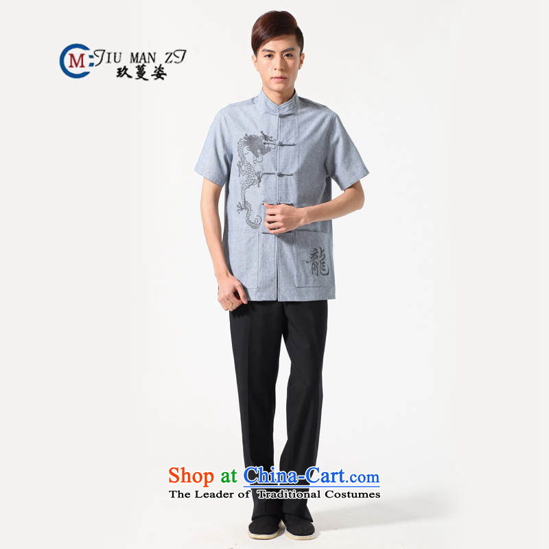 Ko Yo Overgrown Tomb Gigi Lai�Man 2015 Summer cotton linen tray clip collar lung fields in older men Tang Dynasty Short-Sleeve Men National Dress Casual Tang dynasty M0052 Light Gray�L