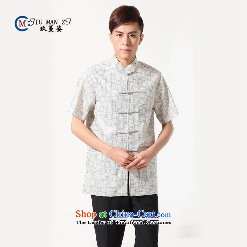 Ko Yo Overgrown Tomb Gigi Lai聽Man 2015 Summer cotton linen collar disc is older men Tang Dynasty Short-Sleeve Men National Dress Casual Tang dynasty M0054聽XXXL m White