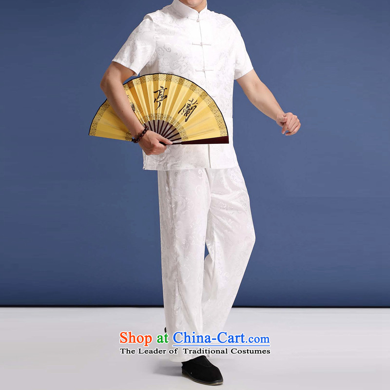 Bosnia and thre line in the summer men walked in the older Xiangyun older summer grandpa replacing men short-sleeve kit national wind load father kit聽XL_180 White