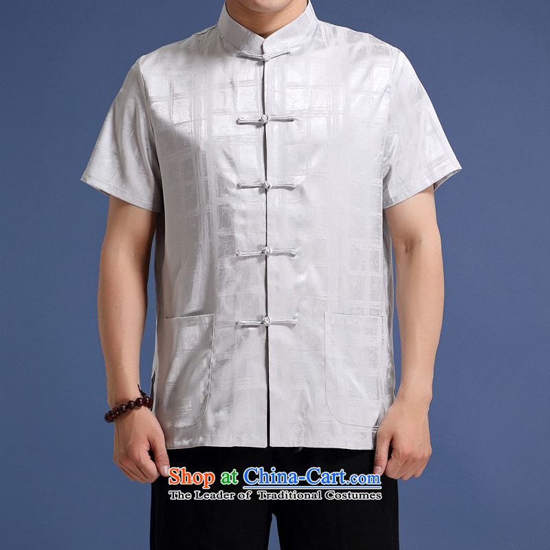 New Product genuine men Tang dynasty short-sleeved T-shirt, older Chinese collar short-sleeved blouses Tang dynasty China wind up detained men's striped short-sleeved T-shirt?XXL/185 Gray