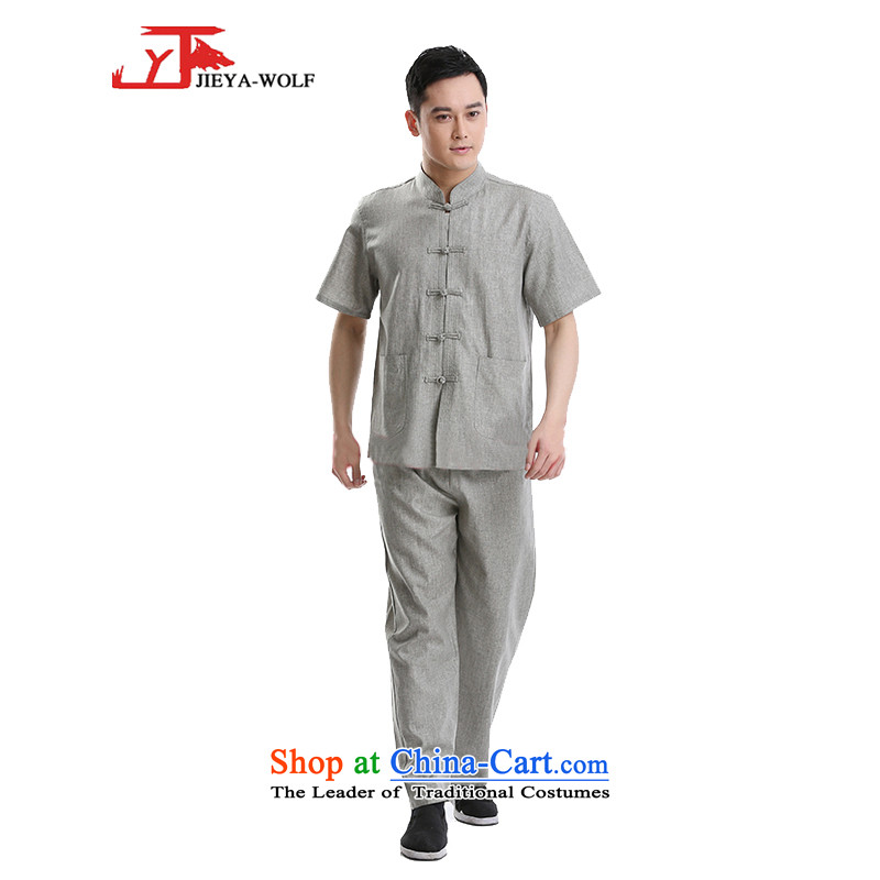 - Wolf JIEYA-WOLF, New Tang dynasty men's short-sleeve kit stylish stars of the summer cotton linen men Package Boxed set of Tai Chi-gray half hemp聽180_XL Snap