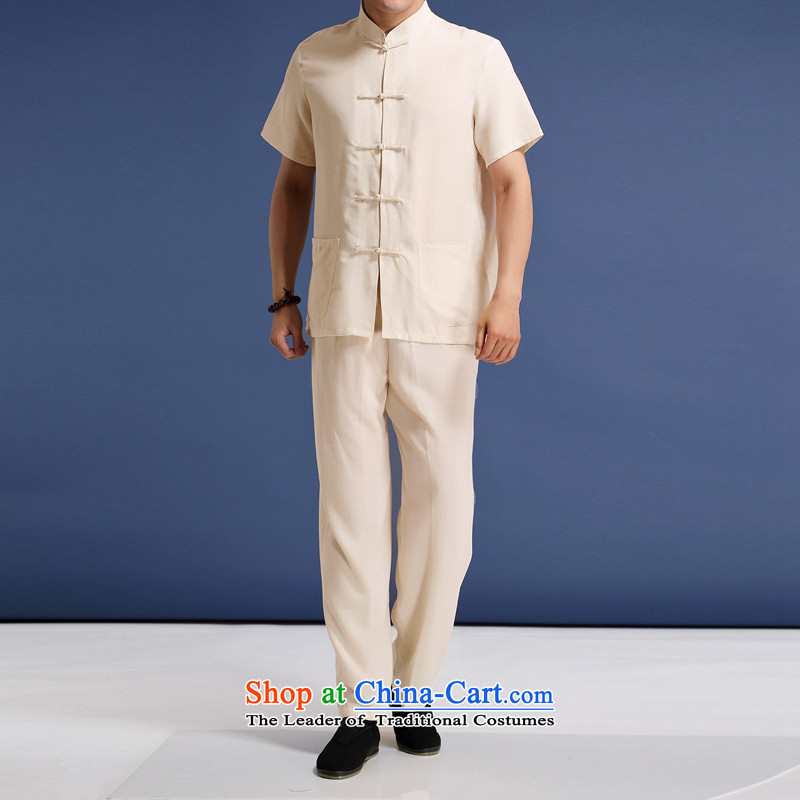 Summer genuine China wind men solid color linen short sleeve packaged in older men summer Chinese collar half sleeve male Tang Dynasty National wind up the clip fine linen package?M/170 m Yellow