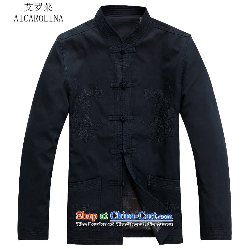 Hiv Rollet men Tang dynasty autumn and winter coats and wedding banquet birthday celebration for the Tang dynasty father replacing men dark blue?XL