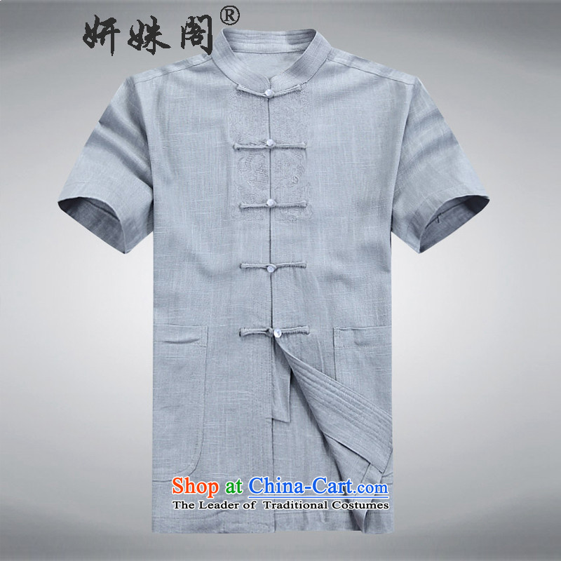 Charlene Choi this cabinet reshuffle is older men Tang dynasty summer cotton linen short-sleeved ethnic kit collar tray clip large lounge exercise clothing traditional Chinese clothing gray XL