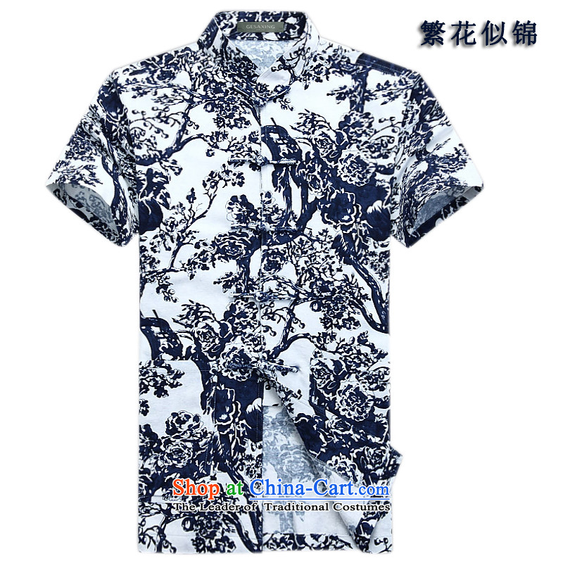 Bosnia and the lush line thre offer relaxing blue-and-white collar Tang Dynasty Chinese Characteristics of stamp cotton linen clothes for men of ethnic Han-Tang dynasty summer XL/180