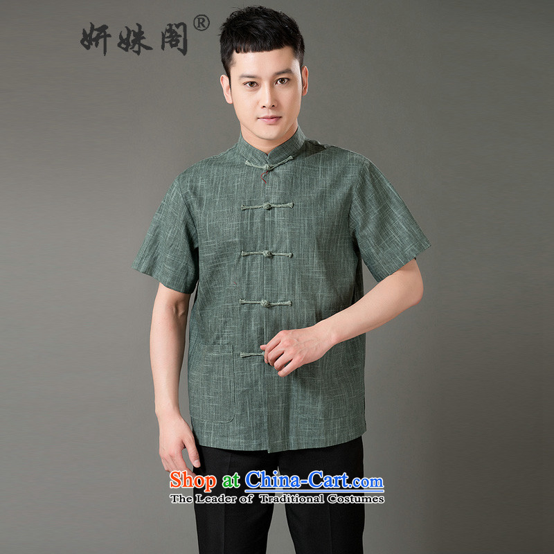 Charlene Choi this cabinet reshuffle is older men Tang Gown of ethnic leisure mock cotton linen short-sleeved Chinese tapes manually relaxd fit snap-green�XL