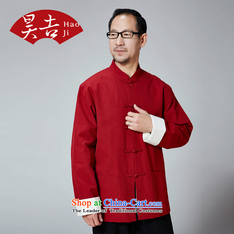 Ho Chi China wind in older men long-sleeved Tang dynasty Mock-neck pure cotton father Chinese clothing is detained improved Han-chinese red 170