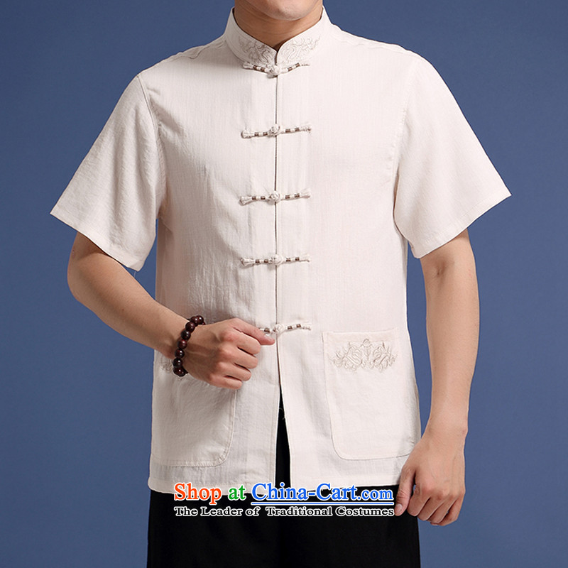 Bosnia and thre line Amoi highstreet male short-sleeved embroidery cotton linen short-sleeved T-shirt with solid color embroidery on short wave and chinese collar summer short-sleeved T-shirt embroidery China wind?L/175 White