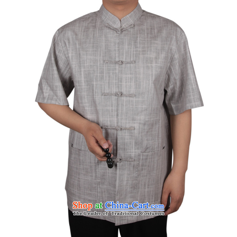 Bosnia and the new_ thre older men Tang Dynasty Summer Chinese cotton linen short-sleeved blouses Tang men linen blacklead Tang Dynasty Han-male聽XXXL_190 Light Gray