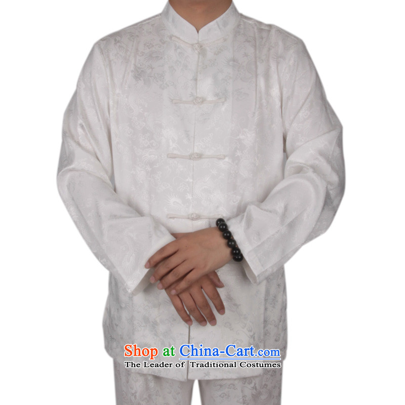 China wind men Tang Dynasty Package for long-sleeved dragons older men's kung fu shirt summer men long-sleeved Tang Gown of ethnic Bruce long-sleeved white聽L_175 Kit