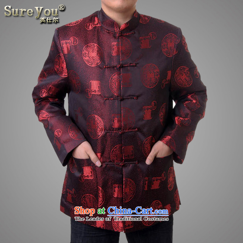 Sureyou men Chinese gown leisure Tang Dynasty, in autumn and winter older Tang dynasty Mock-neck promotion 715 deep red 185