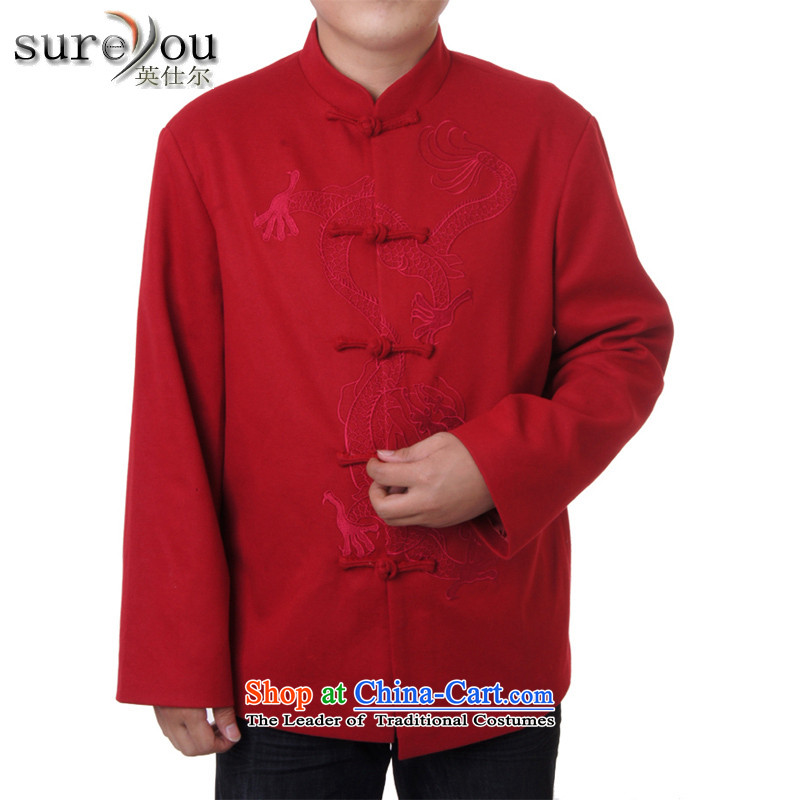 Men's spring and autumn sureyou new replacing Men's Mock-Neck tray snap leisure Tang dynasty Long-sleeve Tang blouses chest embroidered dragon 717 red 180, Mr Rafael Hui Ying (sureyou) , , , shopping on the Internet