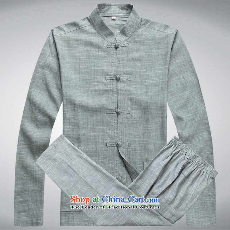 Hei concentric autumn and winter new products long-sleeved Kit Tang Dynasty Chinese male smart casual Tang Dynasty Package linen washable Tang Dynasty set of slate includes pants?S