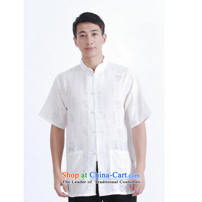 It 2014 Summer new stylish simplicity of Tang Dynasty Mock-neck tray clip short-sleeved shirt M0020 Ma Tei 20 White�XL