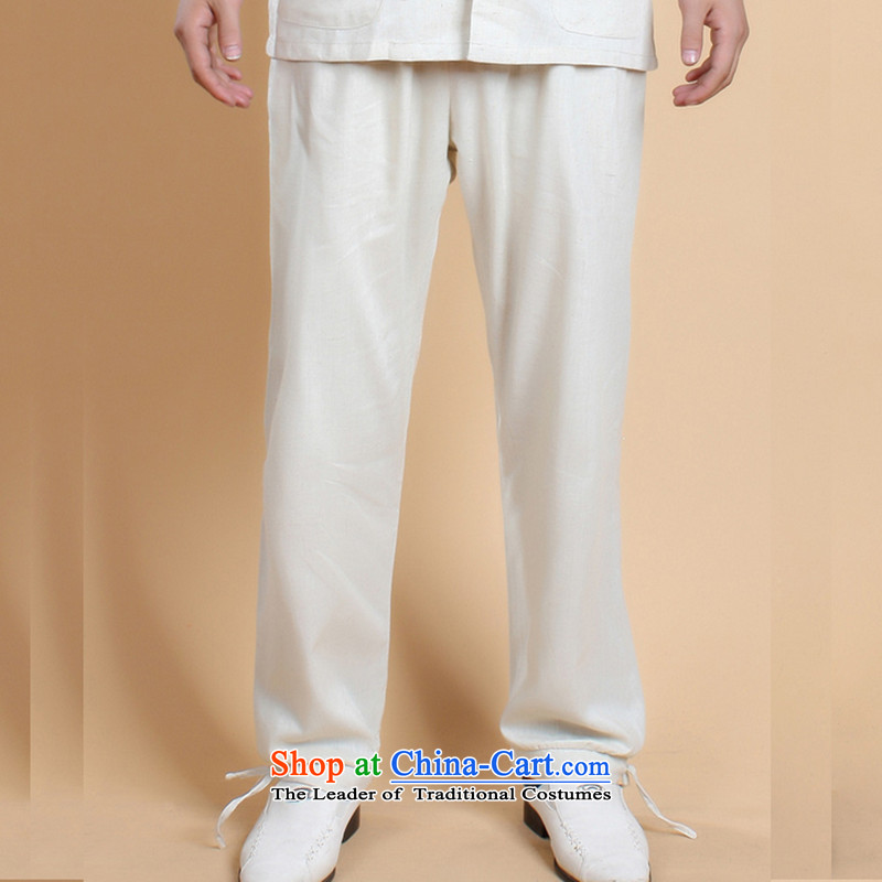 It 2014 Summer new stylish in older men with father ma pure color retro Tang Dynasty Trunkhose聽- 3 white聽L