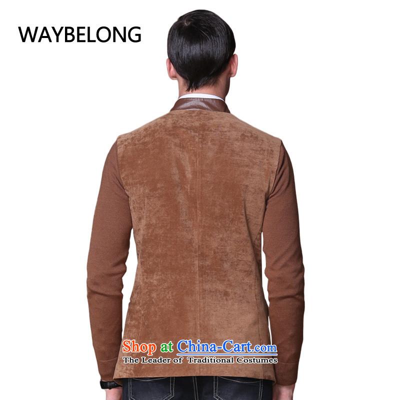 聽Male Emulation Ma Tei waybelong blacklead PU. For China wind -JK1310094 Chinese tunic brown聽XXL, nationals Wei Biren waybelong () , , , shopping on the Internet