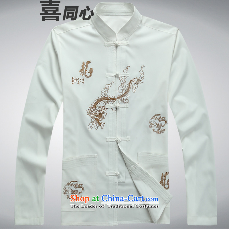 Hei concentric聽 fall 2015 of Chinese long-sleeved men of autumn and winter in older men Tang blouses jacket White聽XXL
