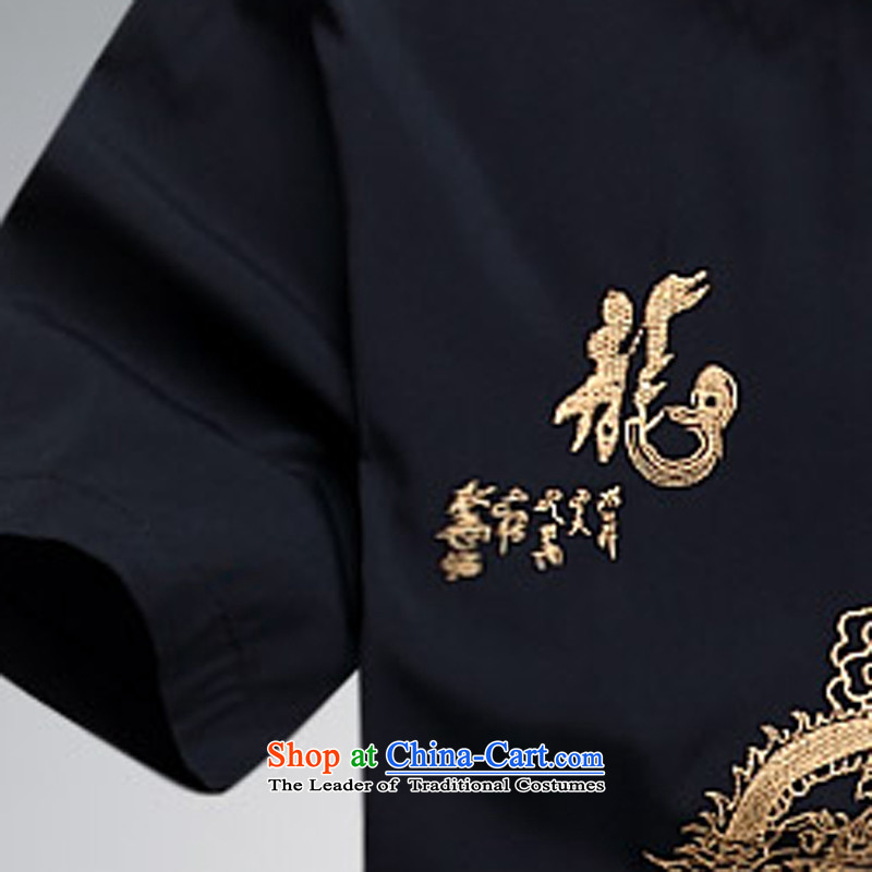 Hei concentric聽2015 Summer new products new China wind cool breathability wicking short-sleeved Tang dynasty men Tang services deep blue shirt聽XL, Hei concentric , , , shopping on the Internet
