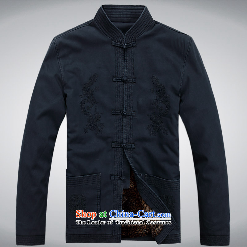 Hei concentric men new men casual male Chinese Tang dynasty collar pure cotton thick dark blue jacket?S