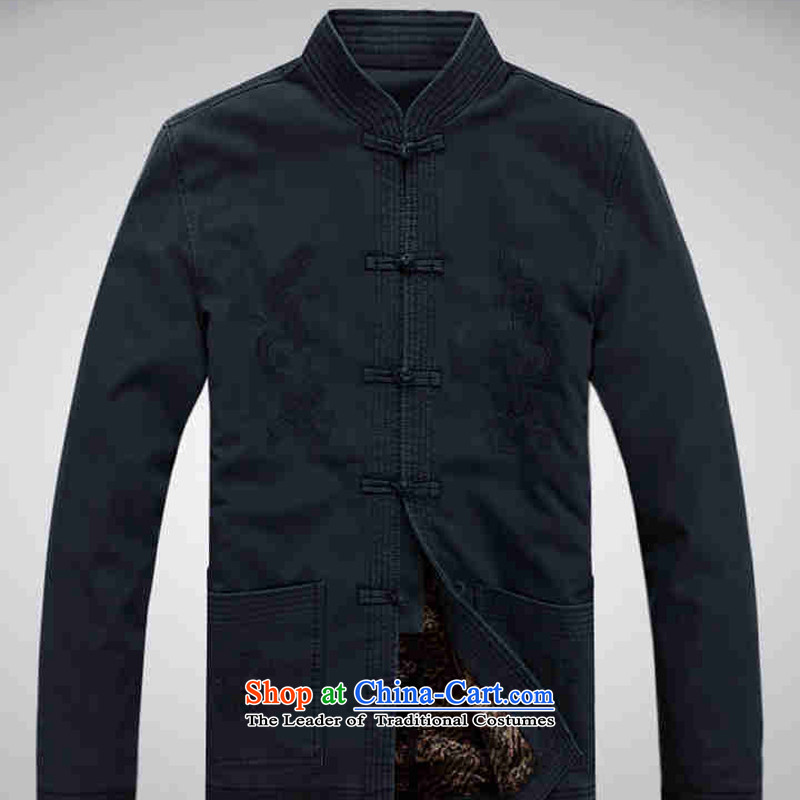 Hei concentric men new men casual male Chinese Tang dynasty collar pure cotton waffle jacket聽, dark blue-hi concentric , , , shopping on the Internet