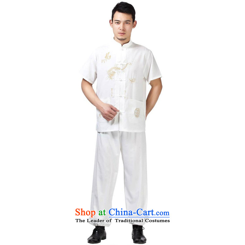 Charlene Choi this pavilion elderly men of ethnic Tang dynasty short-sleeve kit collar disc detained embroidered dragon loaded father jogs kung fu clothing聽- Cotton Tai Lung white short-sleeved聽42