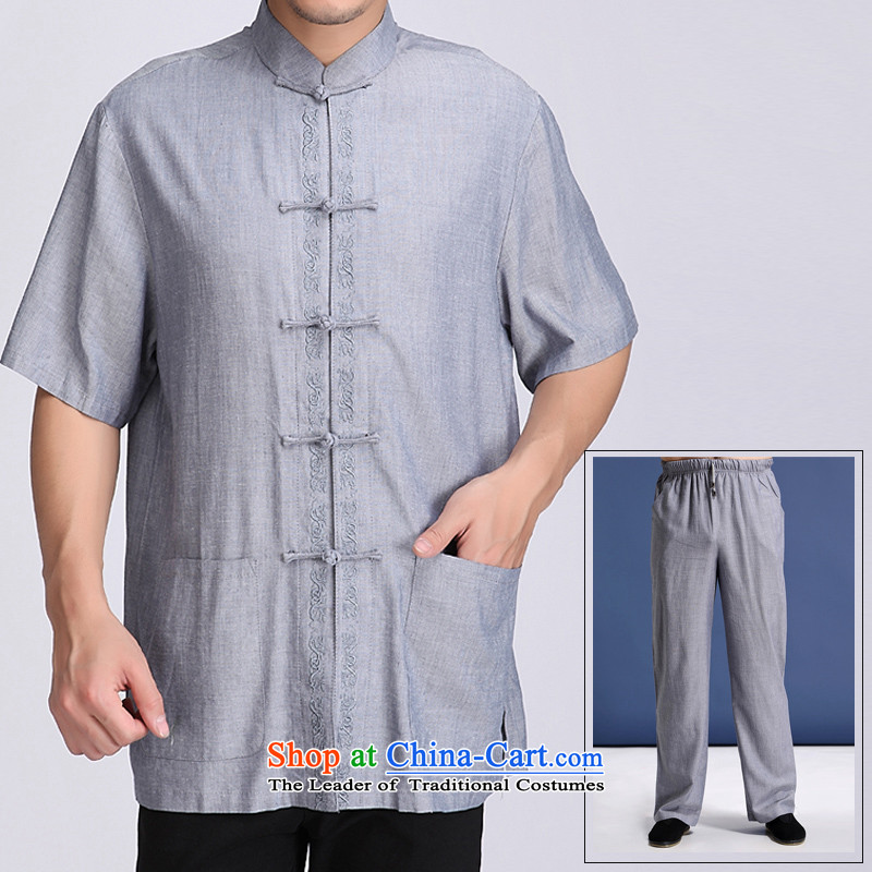 A new summer) increased to older men short-sleeved Tang dynasty short-sleeve packaged ethnic solid color embroidery in elderly men relaxd fit collar embroidery Tang dynasty blue-gray�M/170 Kit