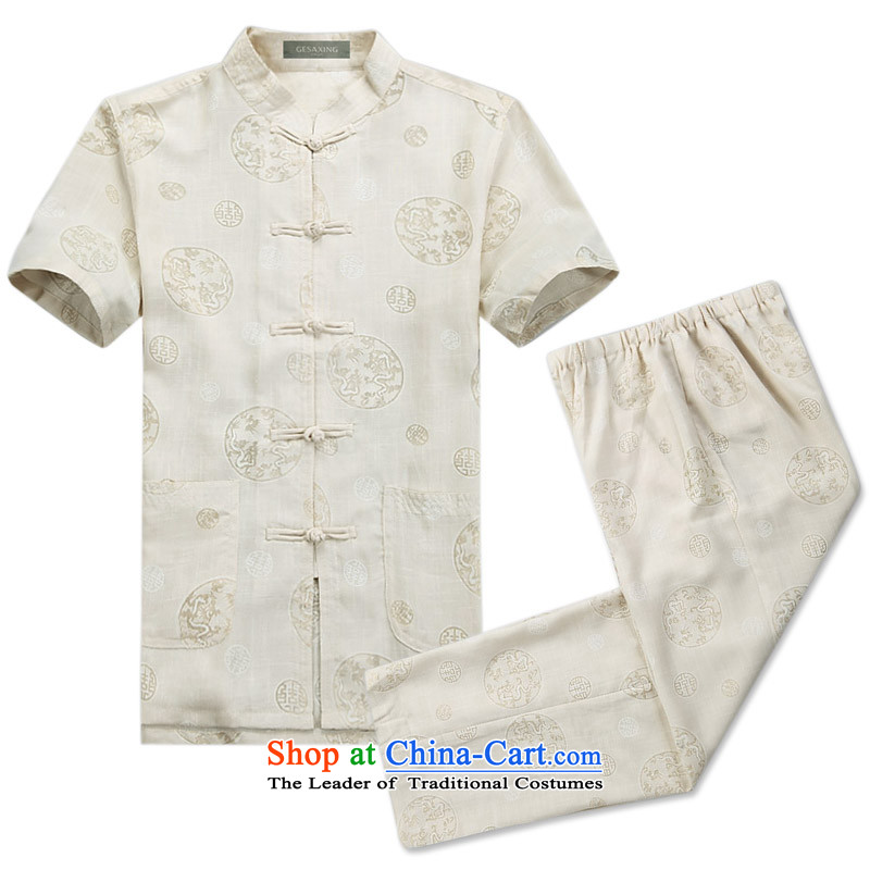 New summer men walked round installed China linen wind cotton linen collar tray clip short-sleeved package for older men summer Chinese half sleeve linen round lung Tang dynasty?XXXL/190 Beige