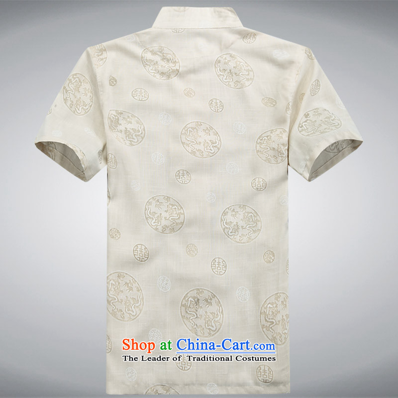 New summer men walked round installed China linen wind cotton linen collar tray clip short-sleeved package for older men summer Chinese half sleeve linen round lung Tang dynastyXXXL/190, beige and thre line (gesaxing) , , , shopping on the Internet