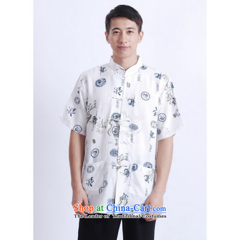 To Jing Ge older men summer Tang Dynasty Chinese Tang dynasty improved men's large short-sleeved men聽M0005 Chinese Dragon White聽M