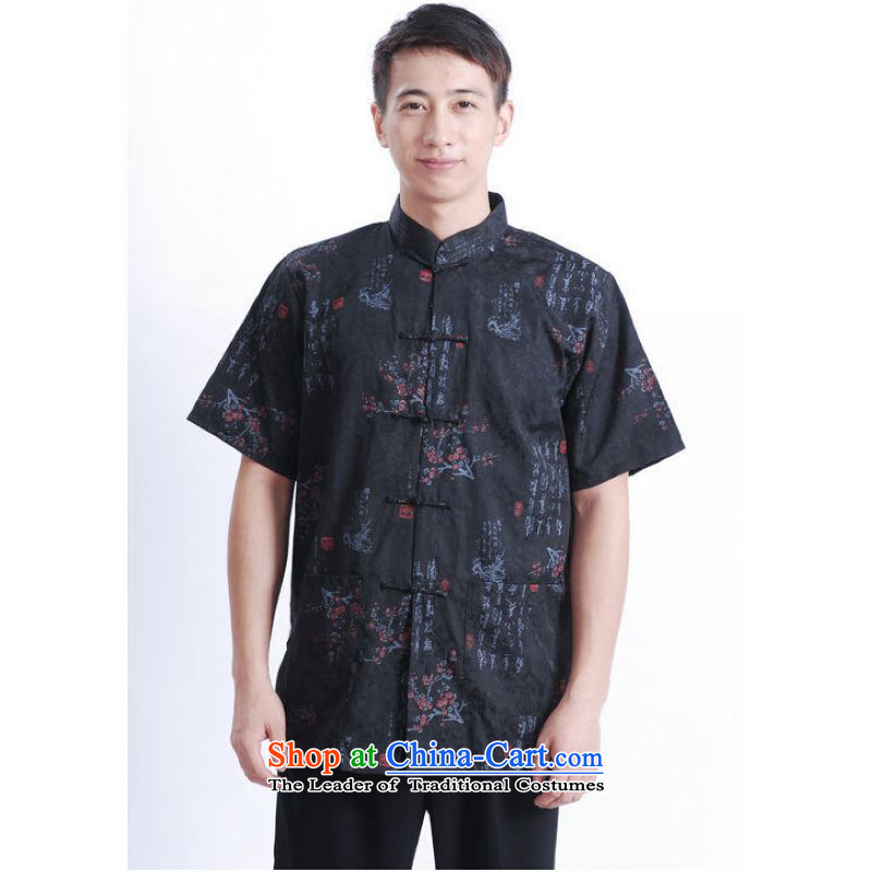 To Jing Ge older men summer Tang Dynasty Chinese Tang dynasty improved men's large short-sleeved black men聽M