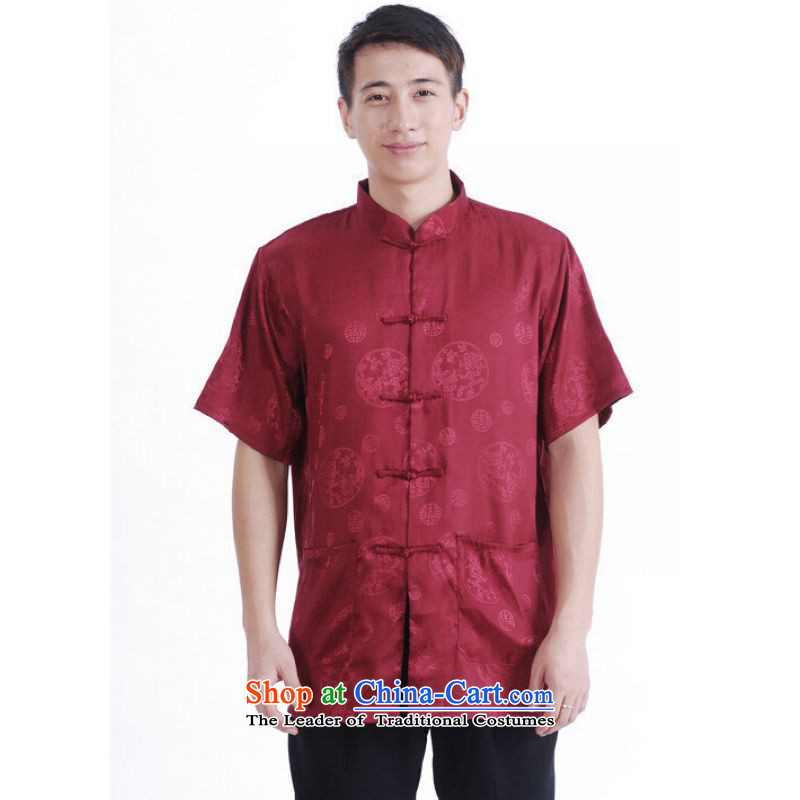 To Jing Ge older men summer Tang Dynasty Chinese women had improved the Tang dynasty men's large short-sleeved men aubergine?M