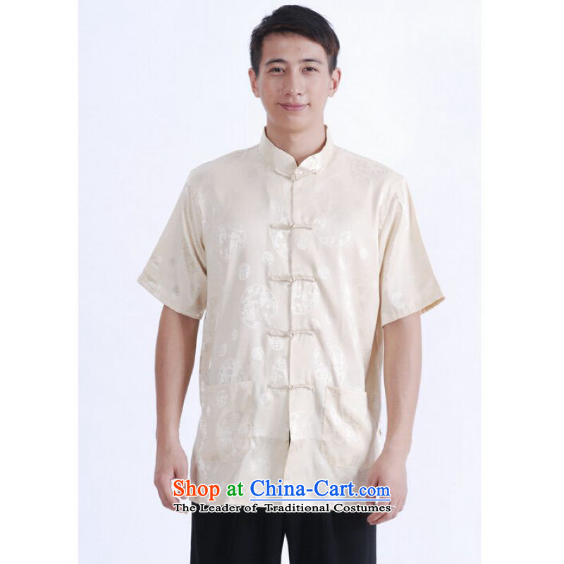 To Jing Ge older men summer Tang Dynasty Chinese women had improved the Tang dynasty short men's large short-sleeved men beige聽L
