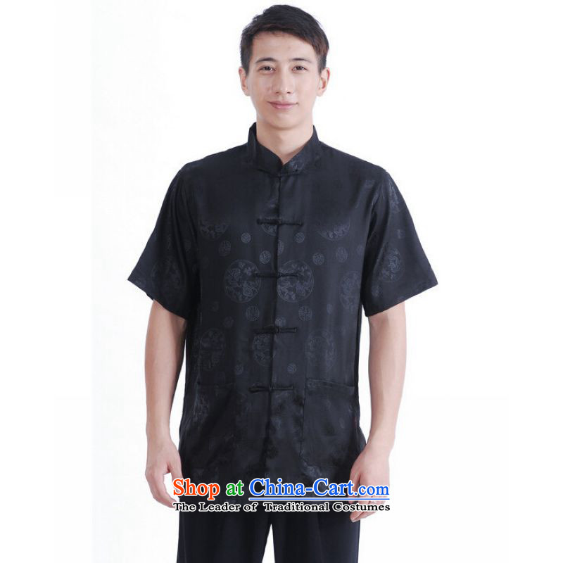 To Jing Ge older men summer Tang Dynasty Chinese Tang dynasty improved men's large short-sleeved black men?XL