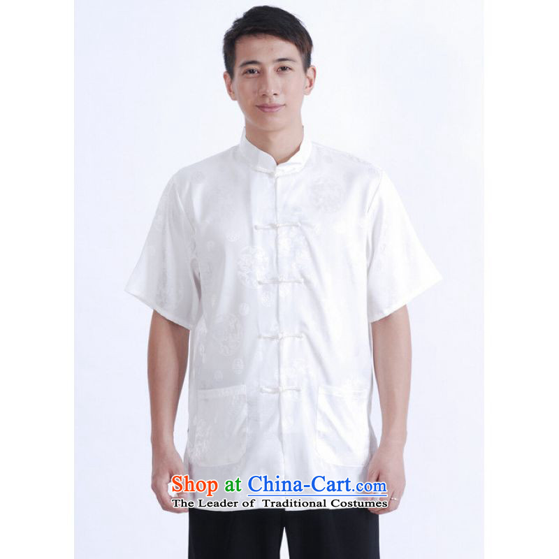To Jing Ge older men summer Tang Dynasty Chinese women had improved the Tang dynasty men's large short-sleeved white�XXXL Menswear