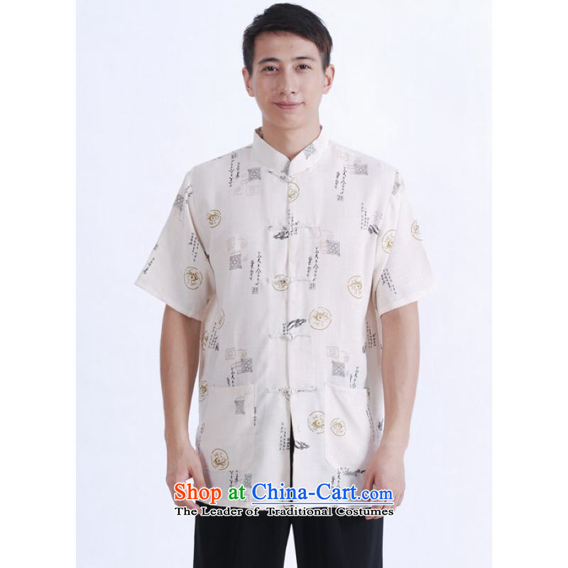 To Jing Ge older men summer Tang Dynasty Chinese improved Ma Tang dynasty men's large short-sleeved men beige聽XXL