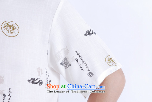 To Jing Ge older men summer Tang Dynasty Chinese improved Ma Tang dynasty men's large short-sleeved White聽XXL images of men, prices, brand platters! The elections are supplied in the national character of distribution, so action, buy now enjoy more preferential! As soon as possible.