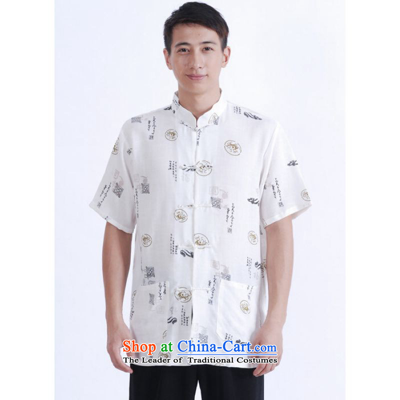 To Jing Ge older men summer Tang Dynasty Chinese improved Ma Tang dynasty men's large short-sleeved white men�XXL
